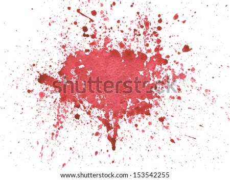 Splattered red blood watercolor isolated on white