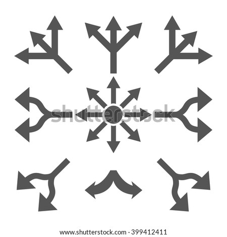 Split Arrows vector icon set. Collection style is gray flat symbols on a white background. - stock vector