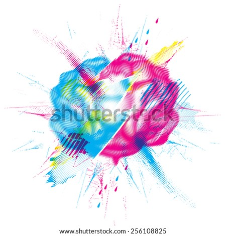 Split brain design element - stock vector