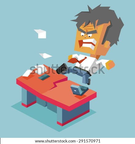 Split desk by anger. vector illustration - stock vector