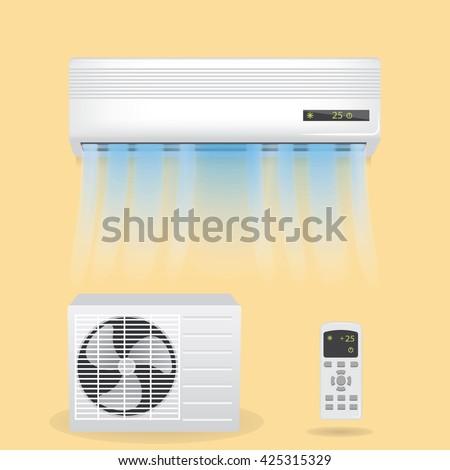 Split system air conditioning, vector illustration. Air conditioner web. Air conditioner new. Air conditioner object. Air conditioner www. Air conditioner 3d.  Conditioner sign. Conditioner vector.  - stock vector