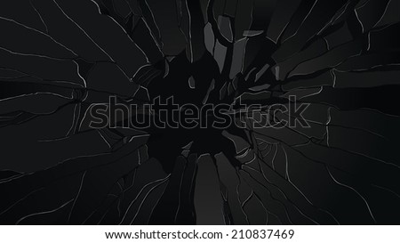 Splitted and damaged glass on black  - stock vector