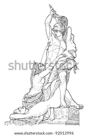 Spoil of Polyxena / sculpture by Pio Fedi / vintage illustration from Meyers Konversations-Lexikon 1897 - stock vector