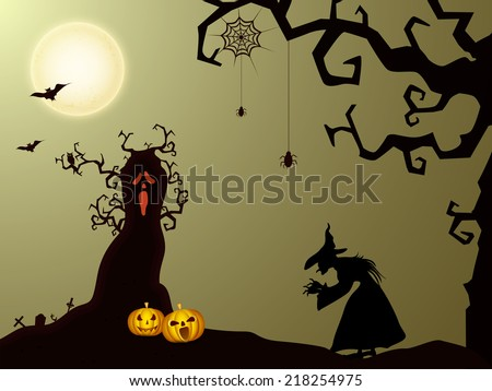 Spooky full moon light night poster. banner or flyer design with scary pumpkins, dead tree and witch for Halloween party night celebration.