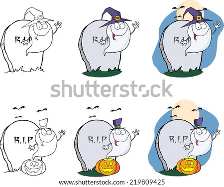 Spooky Ghost Cartoon Mascot Character Series 2. Vector Collection Set - stock vector