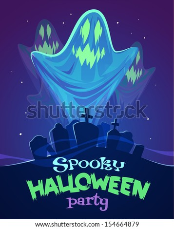 Spooky ghosts on graveyard. Halloween card\poster. Vector illustration. - stock vector