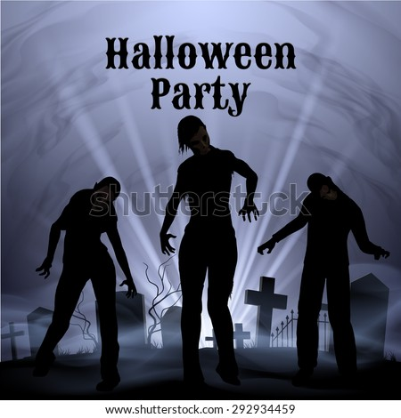 Spooky graveyard on Halloween Night, Halloween Party poster in black and white with zombie - stock vector