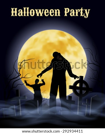 Spooky graveyard on Halloween Night with zombie - stock vector