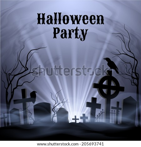 Spooky graveyard on the H alloween Night, Halloween Party poster in black and white  - stock vector