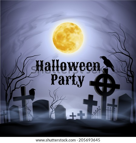Spooky graveyard on the Halloween Night with evil raven on a celtic cross under full Moon. Have a nice Halloween Party!    - stock vector