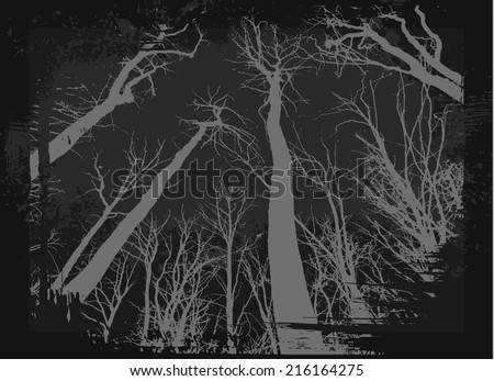 Spooky grunge forest illustration for halloween - stock vector