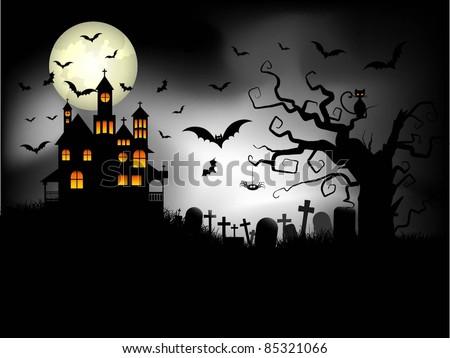Spooky Halloween background - stock vector