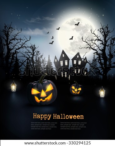 Spooky Halloween background with a haunted house in a forest. Vector. - stock vector