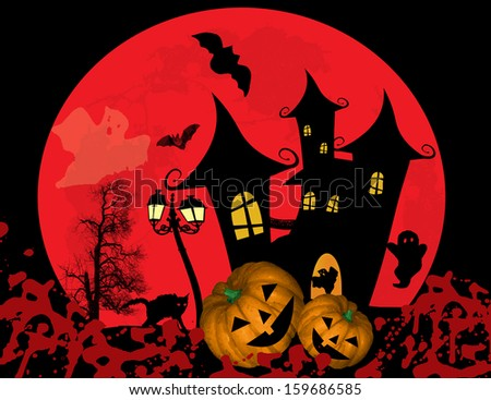 Spooky Halloween background with castle and pumpkins in front of full moon, vector illustration - stock vector