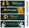 Spooky Halloween banners - stock photo