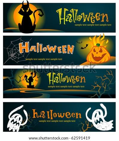 Spooky Halloween banners - stock vector