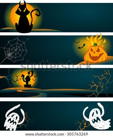 Spooky Halloween banners in vector format - stock vector
