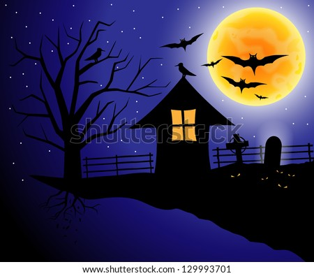 Spooky Halloween composition with horror house and popular holiday attributes - stock vector