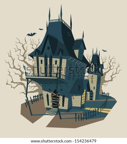 Spooky Halloween house. Vector illustration. - stock vector