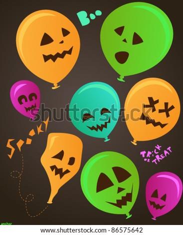 Spooky halloween party balloon set - stock vector
