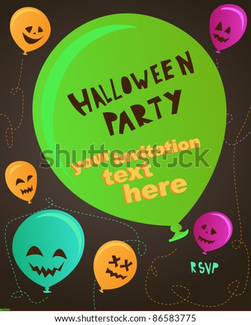 Spooky halloween party invitation balloon set - stock vector