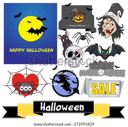 Spooky Halloween Vector Elements - stock vector