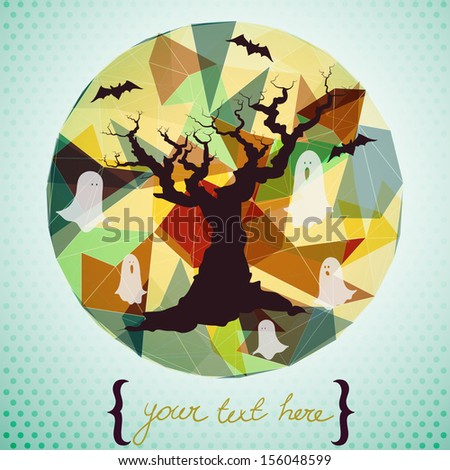 Spooky hand drawn tree silhouette with cartoon bats and ghosts on circle geometric background. Stylish Halloween invitation or greeting card template. - stock vector