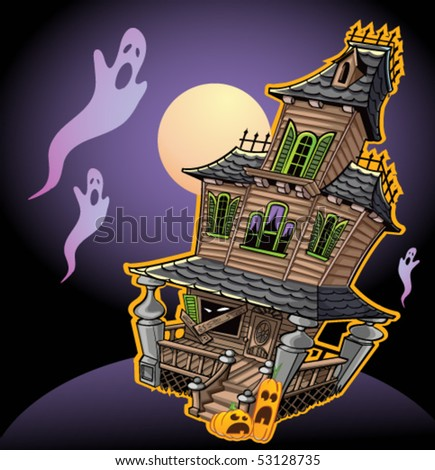 Spooky Haunted House - stock vector