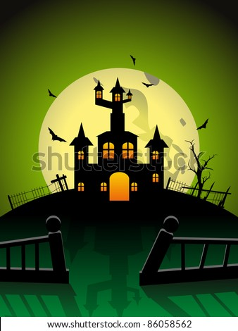 spooky house concept flying bat  illustration for halloween