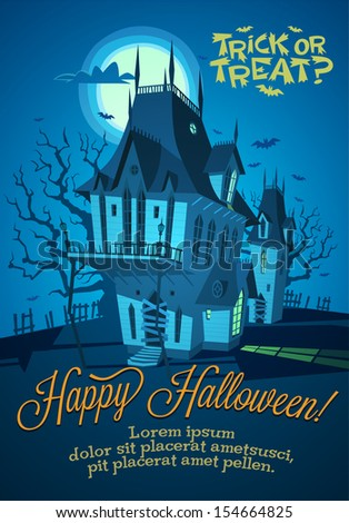 Spooky house. Halloween background. - stock vector