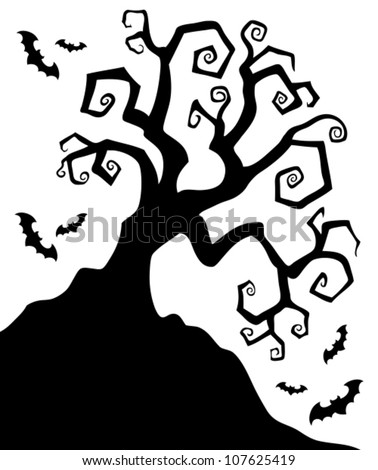 Spooky silhouette of Halloween tree - vector illustration. - stock vector