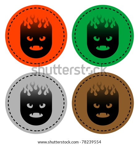 spooky skulls of various colors on white - stock vector