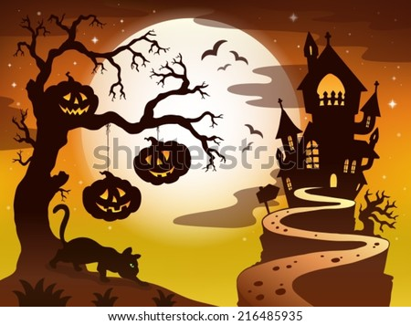 Spooky tree topic image 3 - eps10 vector illustration. - stock vector