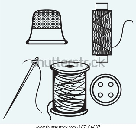 Spool Threads Sewing Button Thimble Isolated Stock Vector (2018 ...
