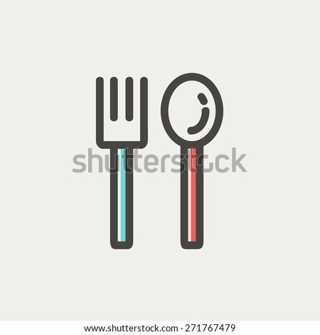 Spoon and fork icon thin line for web and mobile, modern minimalistic flat design. Vector icon with dark grey outline and offset colour on light grey background. - stock vector