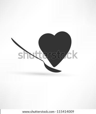 Spoon and heart icon - stock vector