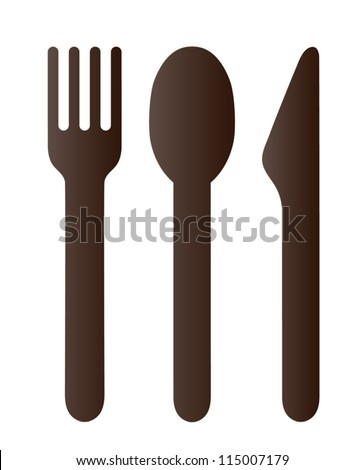 Spoon fork and knife on white background - stock vector