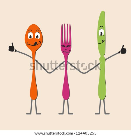 Spoon knife and fork cartoon - stock vector