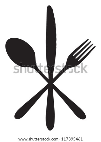 spoon, knife and fork - cross - stock vector