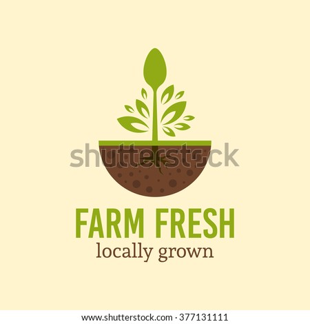 Spoon with green leaves and root sprout from the soil, vector logo concept template with sample text, farm fresh and organic products logo, restaurant logo, farming and agriculture logo - stock vector