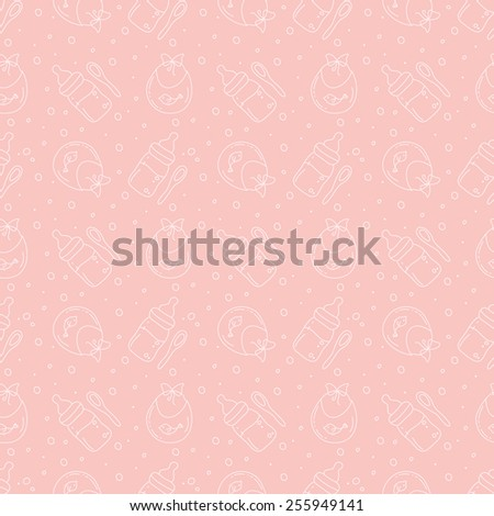 spoons teats and bibs pattern - stock vector