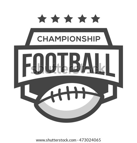 Sport American Football Logo. Black and White. Vintage Style.