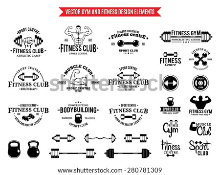 Sport and Fitness Logo Templates, Gym Logotypes and Design Elements - stock vector
