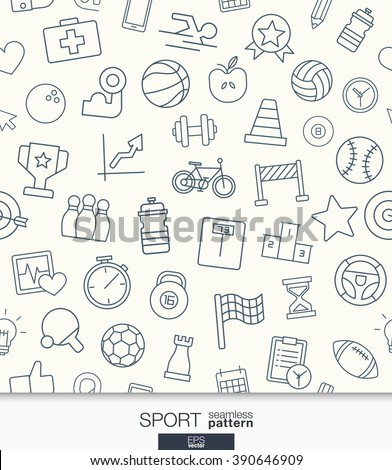 Sport and fitness wallpaper. Black and white game seamless pattern. Tiling textures with thin line web icons set. Vector illustration. Abstract background for mobile app, website, presentation.