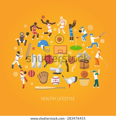Sport and healthy lifestyle concept with flat players and accessories icons set vector illustration - stock vector
