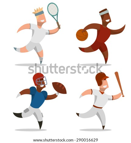 Sport and men set, vector - stock vector