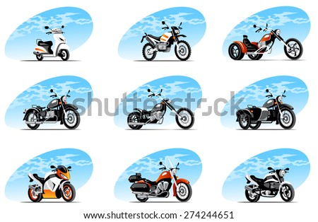 Sport and travel vehicle icons - stock vector
