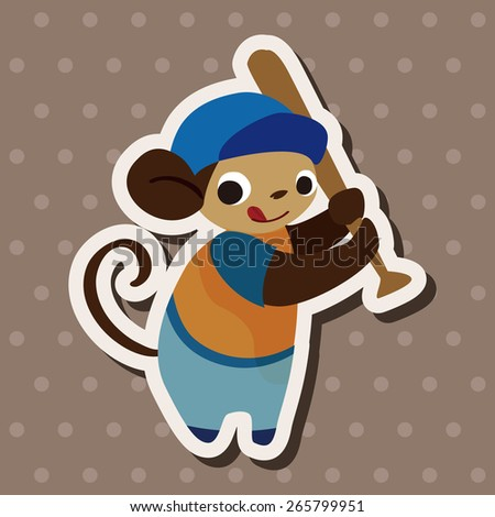 sport animal monkey cartoon elements vector - stock vector
