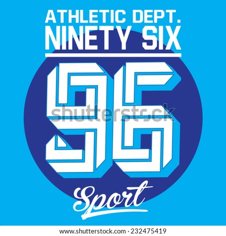 Sport athletic typography, t-shirt graphics, vectors - stock vector