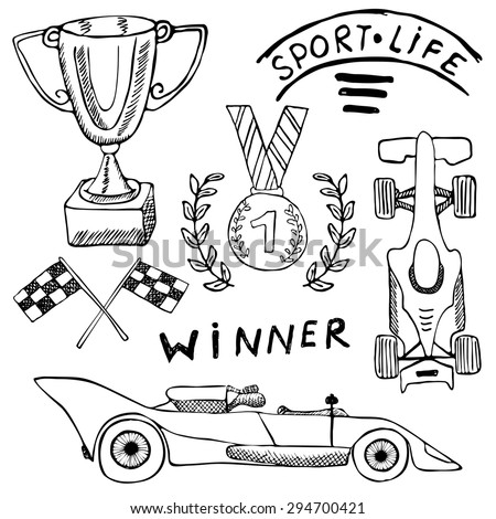 Sport auto items doodles elements. Hand drawn set with Flag icon. Checkered or racing flags first place prize cup. medal and racing car, race vector illustration. Drawing doodle collection isolated - stock vector